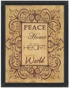 """Peace by Diane Knowles 12""""x16"""" Linen Texture Print in Distressed Wood Frame:Amazon:Home & Kitchen"""