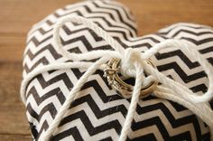 black and white chevron wedding ring pillow with bow, ring bearer