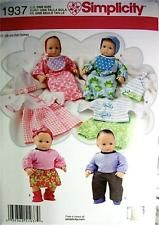 """New-Simplicity #1937-15"""" Baby Doll Clothes Pattern-5 Outfits-Nightgown,Booties++"""