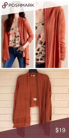 Anthropologie Moth Burnt Orange Open Cardigan Great lightweight cardigan from Anthropologie. Long in the front and cropped in the back. Size medium. Excellent condition! Anthropologie Sweaters Cardigans