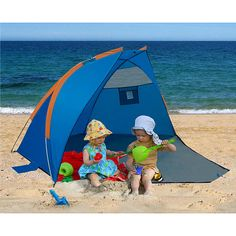 This simple 3 pole cabana is full of features. The front can be closed using 2 zippers on the sides of the door for use as a changing room. The door when open also acts as an extended floor area. There are two mesh windows in the walls for air circulation and pockets for small things to keep them from cluttering up the floor. Along the floor seam are sand pockets to prevent the cabana from becoming airborne in the wind stakes are also provided for use on grass or dirt.