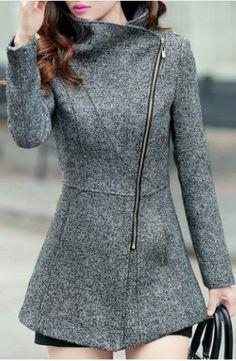 asymmetric zip front coat