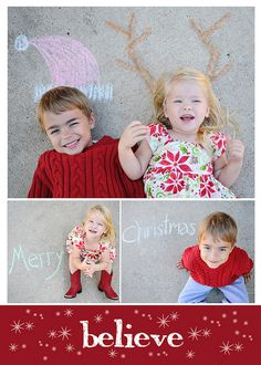 Christmas Card photo - chalk drawings in my driveway. For my future grandbabies board or photography board???