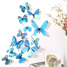 Wall StickerSMTSMT 12pcs Decal Home Decorations 3D Butterfly Rainbow Blue *** You can find out more details at the link of the image.