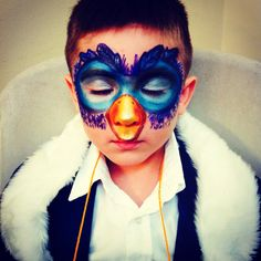 Zazu inspired makeup (mask) Lion King play. By Eunice Alvarenga