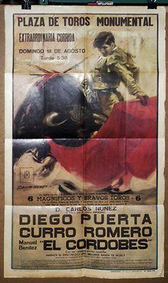 Corrida de la Plaza de Toros Monumental de Barcelone, 18 août 1964, réunissant devant les toros de Carlos Nunez : DIEGO PUERTO, CURRO ROMERO, EL CORDOBES