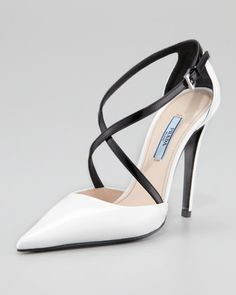 Bi-Color Decollete Crisscross Pump by Prada at Neiman Marcus.