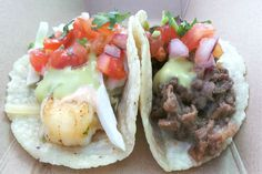 Our succulent shrimp & carne asada tacos are outstanding on their own, but drizzle on some spicy salsa de jalapeno and you've got an incredible flavor sensation. Try it today: LUNCH 11A–2P Bayview Business Ctr, 100 Bayview Cir #NewportBeach CA; and, DINNER 5P – 8P SOHO TACO HQ, 2800 S Orange St #SantaAna CA.  More info: https://www.sohotaco.com/2016/01/19/add-a-little-heat-to-your-surf-turf-at-todays-stops #tacocatering #ocfoodies #foodgasm #foodporn