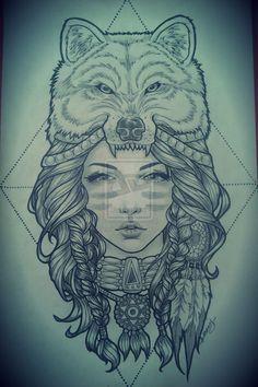 old school indian girl wolf tattoo - Buscar con Google