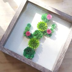 Paperflower Cactus Shadowbox is part of Paper flower crafts Hello! ) These shadowboxes have been very popular requests so I have decided to add them to my inventory! Paper Flowers Diy, Felt Flowers, Flower Crafts, Rolled Paper Flowers, Paper Succulents, Cactus Craft, Cactus Decor, Flower Shadow Box, Shadow Box Art