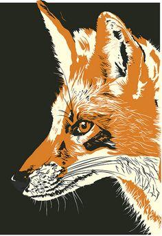 """Fox"" by Sara Cullen (linocut) Art And Illustration, Illustrations, Linocut Prints, Art Prints, Inspiration Artistique, Linoprint, Desenho Tattoo, Fox Print, Grafik Design"