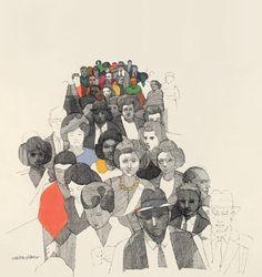 Elevator Bank by Graphic Designer Milton Glaser, 1968 … Ink Illustrations, Digital Illustration, Milton Glaser, Tinta China, Drawing Quotes, Amazing Drawings, Sculpture, Collage Art, Graphic Design