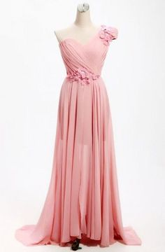 A-line One Shoulder Long Chiffon Bridesmaid Dress With Flowers TY0008