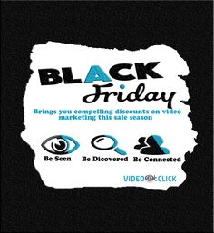 It's on its time. Black Friday is here and you need to get ahead of your competition by making sure that people click and come to you. #Videoatclick brings you compelling discounts on #videomarketing this sale season. #Contact_Us https://lnkd.in/eV_zQGe #Our_Portfolio https://lnkd.in/ewifeWw