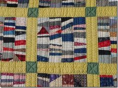 close-up of string quilt - four rows make a rectangle. great use of scraps.