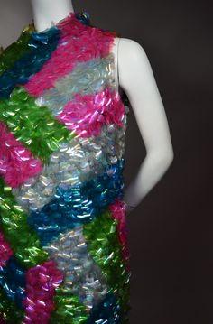 "SHIMMERING MOD SHIFT! 60's VINTAGE SOLID COIN SEQUIN COCKTAIL SHIFT DRESS - ""ELOISE CURTIS"" - AVAILABLE AT RPVINTAGE.COM"