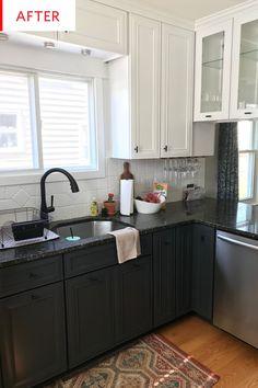 Cheap Kitchen Makeover Black Granite Countertops Kitchen Before After Dark Granite Countertops, Black Kitchen Countertops, Black Kitchen Cabinets, Black Kitchens, Home Kitchens, Black Granite, Dark Cabinets, Dark Granite Kitchen, Kitchen Black