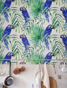 Removable Wallpaper, Palm leaf Wallpaper, Self-adhesive Parrot Wallpaper, Tropical Wall Décor, Jungle Wallcovering - JW053