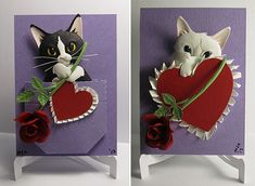 Custom Paper Cat Sculptures for Valentine's Day from Matthew Ross... So cute!