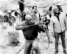 Woody Strode behind the scenes from THE PROFESSIONALS (1966).