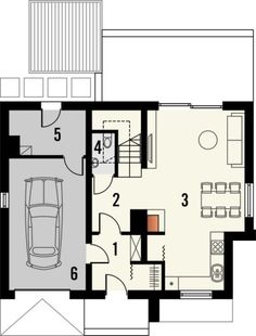 Projekt małego domu nowoczesego do 100m2 - Murano S. | Quattro Domy 1, Floor Plans, Studio, Study, Floor Plan Drawing, House Floor Plans