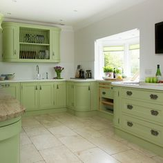 Green painted kitchen with storage | Kitchen designs | country | Beautiful Kitchens | Housetohome.co.uk