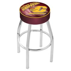 Backless Central Michigan Chippewas Swivel Bar Stool in Chrome