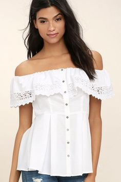 The Sweet Day White Lace Off-the-Shoulder Top has us dreaming of warm days on the porch sipping tea! Lightweight woven poly falls from an elasticized, off-the-shoulder neckline into a ruffled lace flounce, and button-up bodice. Pleated, peplum hem.