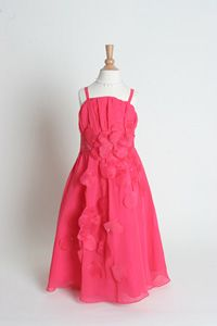 a63a11feaa Flower Girl Dresses - Organza Spaghetti Strap Dress with Floral Accent -  SALE Hot Pink size
