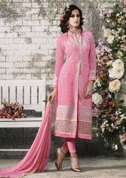 Party Wear Pink Georgette Embroidered Work Churidar Suit