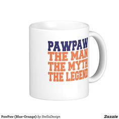 PawPaw (Blue-Orange) Classic White Coffee Mug White Coffee Mugs, Classic White, Blue Orange, Photo Mugs, Tableware, Gifts, Dinnerware, Presents, White Coffee Cups