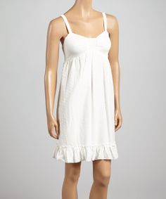 Off-White Swiss Dot Ruffle Sleeveless Dress   something special every day