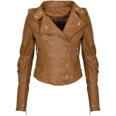 Caramel Leather Look Biker Jacket (82 AUD) ❤ liked on Polyvore featuring outerwear, jackets, tops, coats, veste, brown motorcycle jacket, vegan motorcycle jacket, brown biker jacket, biker jacket and brown faux leather jacket
