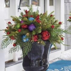 Products Christmas Merry And Bright Cordless Urn Filler - Grandin Road Christmas Urn Fillers, Christmas Urns, Christmas Planters, Christmas Greenery, Outdoor Christmas Decorations, Christmas Time, Christmas Wreaths, Christmas Crafts, Family Christmas