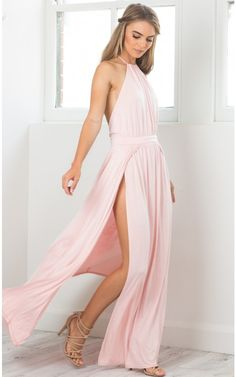 Blush High Neck Halter Maxi Dress | USTrendy
