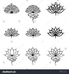 Lotus flower tattoo forearm tattoo flowertattooloto popular set ornamental lotus flower vector illustrtation tattoo patterned indian paisley mightylinksfo