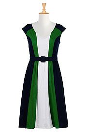 Cotton Poplin Color Block Dress, Sizes 0-36W   ElegantPlus.com Editor's Pick