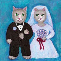 Digitaldruck - Braut und Bräutigam Katzen-DRUCK - ein Designerstück von thebluecat bei DaWanda