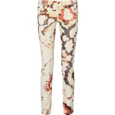 Étoile Isabel Marant Relly tie-dyed low-rise stretch-denim skinny... ($122) ❤ liked on Polyvore featuring jeans, white, low rise jeans, white super skinny jeans, tie-dye skinny jeans, stretch denim skinny jeans and mid-rise jeans