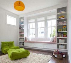 book shelves and large window seat