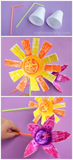 Styrofoam Cup Flowers (Kids craft idea for spring or summer! Cup Crafts, Easy Crafts, Crafts For Kids, Arts And Crafts, Craft Projects, Projects To Try, Welding Projects, Craft Tutorials, Woodworking Projects