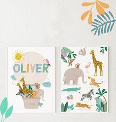 Safari Personalized Kids Prints Safari Animals Name Print | Etsy