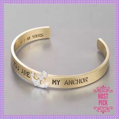 "You Are My Anchor"""" Bracelet Cuff"