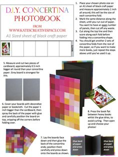 DIY Concertina Photobook Guide Notes - I have been thinking about making books lately, and this is a cool way to do it!