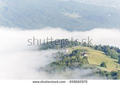 A lonely house on top of a hill in Polish Beskid