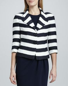 Striped Notch Collar Jacket by Kay Unger New York at Neiman Marcus.