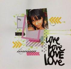 Papel, tarjetas y scrapbook...Layout colores brillantes, use papeles de Amy Tangerine; quieres verlo a detalle? Entra al blog.