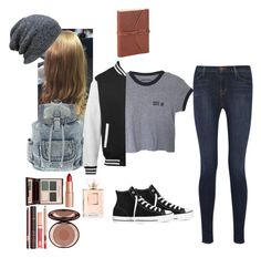 """""""Cute & edgy!"""" by mariamxoxo ❤ liked on Polyvore featuring J Brand, Converse, Charlotte Tilbury and Chanel"""