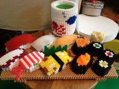 3D Perler bead sushi table