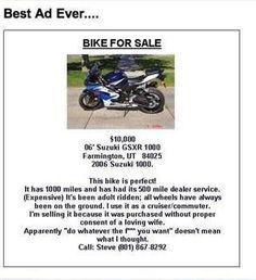 Lol, funny Bike For Sale Ad!